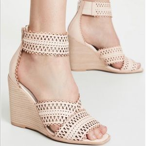 Jeffrey Campbell Besante Woven Wedges Natural